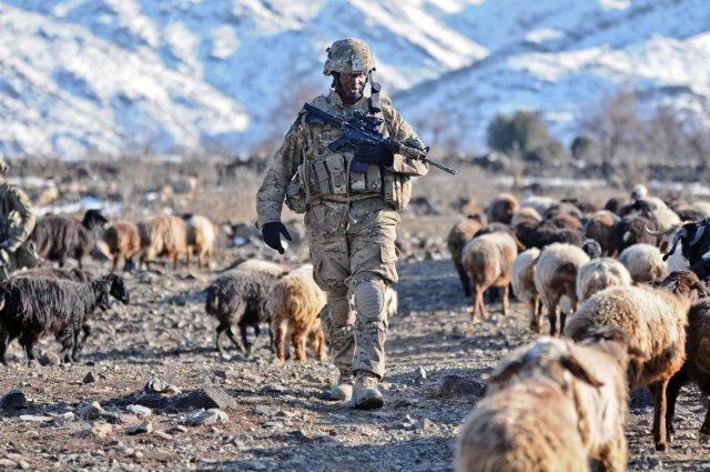 Soldier patrolling in Afghanistan